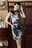 Free Shipping 2014 Hot Sale black Chinese Traditional Dress Cheongsam size :S-XXL