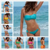 Fashion Brand woman Sexy bikini with PAD Hot swimsuits Ladies Padded Bra Low Rise swimwear beachwear 11 colors S758