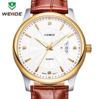 WEIDE Man watch quartz woman genuine leather straps calendar rose gold watches 30m waterproof Japan movement wristwatch