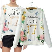 New 2015 European Celebrity Women Gilt letters Floral Print Long Sleeve Pullover Hoodies Ladies Casual Fashion Sweatshirt