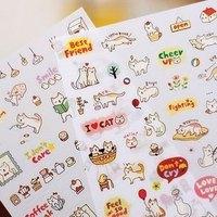 (1 Lot=2 Sets=12 Sheets) DIY Scrapbooking Paper Cute Cats PVC Diary Photo Album Stickers Wedding Decoration Sticker