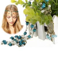 2014 Fashion Crown Pendant  Pearl Head Chain Vintage Turquoise Pearl Head Chain Forehead Headband For Women Gift