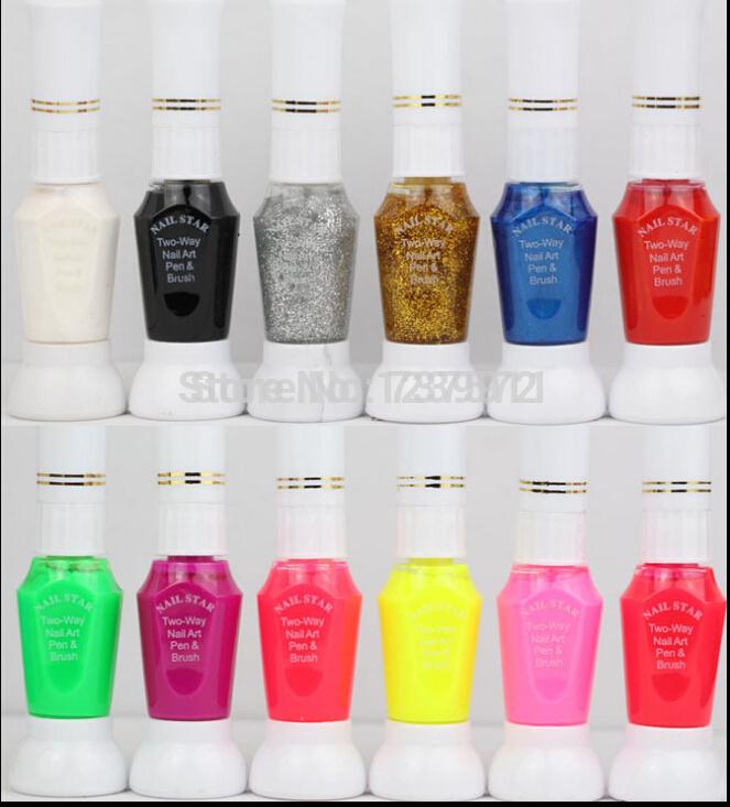 Fashion Nail Polish Two Way Nail Art Pen & Brush Naked 12 Ml Of 12 Color Cosmetics Neon Nail Polish Multi-color Optional Tools(China (Mainlan