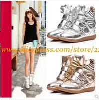 Hot!New Women Korea Light Hihg Quailty Sneakers Inside Wedge Hook&Loop Cowhide Sole High Leg Sport Shoes Silver/Gold size34-42