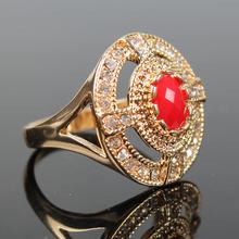 Heat Red Main Stone Cross Navy Windmill Shape Gold Filled Jewelry Tibetan Ring Womens Wedding Bands