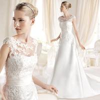 2014 lace slim a bride vintage slit neckline princess spaghetti strap long trailing