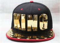 Free shipping  2014 NEW PUNK Mirror Acrylic King letter Hiphop baseball snapback Rivet Spike studded Dance flat Cap hats