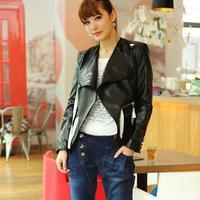 2014 New Autumn Winter Women Coat Short Motorcycle Slim Pu Leather Jacket  Plus Size S/M/L/XL/XXL High Quality