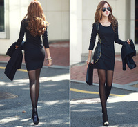 2014 New Plus size Slim Fit Package hip Thickening Long sleeve Autumn and winter Dress sexy plus size club dresses