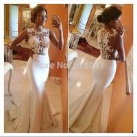 Long Evening Dress 2014 In Stock Sleeveless Back Sheer White Formal Mermaid Lace Evening Dresses XT-7640 robe de soiree