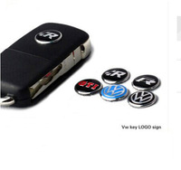 5 styles available, Aluminum Alloy hot sale remote key Stickers, VW Volkswagen R GTI Rabbit ABT, 14mm 3D stickers
