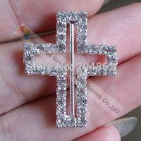 Free shipping (100pcs/lot) 22x28x22mm NEW Cross wedding invitation czech crystal ribbon rhinestone slide buckle with Sliver Tone