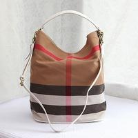 Free shipping 2014 New Fashion From Star Women Messenger Bag Ladies Plaid Bucket Shoulder Bags Genuine Leather Tote Handbag