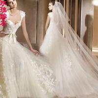 2014 wedding slit neckline straps wedding dress train lace wedding dress the bride wedding dress