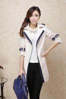 2014 trench female medium-long spring and autumn slim women's trench outerwear overcoat female ol elegant
