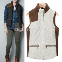 2014 Women Autumn Vest British Style Knit Patchwork Vest Tops Female Waistcoat Outwear Down Vests ,Free Shipping