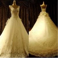 Wedding dress train slit neckline spring strap wedding dress 2014 slit neckline wedding dress female wedding dress