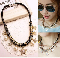 Newest Trendy 2014 new fashion jewelry wholesale gold crystal star pearl pendant multicolor circle necklace black leather women