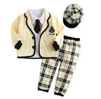autumn cool preppy style boys child yellow outerwear 5pc set cap+tie+coat+shirt+pants 0716 it