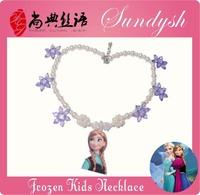 Popular Handmade Frozen Annd Princess Purpe Snow Flower Necklace Frozen