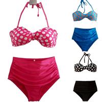 New 2014 XL Drop Ship Dot Retro Print Bikinis Set Vintage High Waist Bikini Swimsuit Ladies' Swimwear Bathing Suits for Women