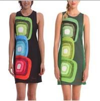 2014 Summer Women Dress Casual Print Geometric Striped Dress Sexy Party Floral Dress O neck Bohemian Celebrity Lady Dress DG017