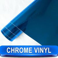Free Shipping Wholesale 1.52*30M Printed Chrome Vinyl Stickers Blue Chrome Vinyl Film