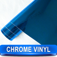 Free Shipping Wholesale 1.52*30M Printed Chrome Vinyl Stickers Blue Chrome Vinyl Film