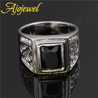Men Ring 2014 New Arrival 18K White Gold Plated Black Stone Men Jewelry Rings