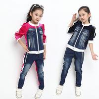 Girls Clothing Sets 2014 Autumn New Arrival Children Sport Clothing Set Denim Coat Jeans Pants Conjunto De Roupa Kids Tracksuit