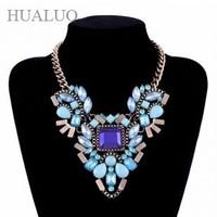 luxury chunky statement rose/pink/blue square shape rhinestone choker necklace fashion women dress#N1696-N1698