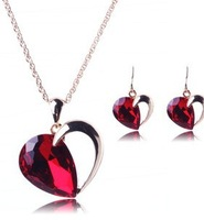2014 Hot Newest 18K Glod Plated Red Heart Statement Jewelry Pendant Necklaces & Earrings Jewelry Sets Free Shipping