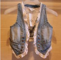 Baby girls coat kids children Waistcoat autumn denim lace vest girl jacket 0717 sylvia 37359670364