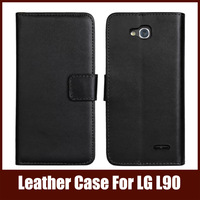 2014 High Quality Leather Stand Case For LG L90 With Flip Wallet Card Holder Phone Bag For LG, Black Color Free Shipping