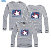retail family t shirt long sleeve autumn dad/mum/baby parentage clothes cotton family shirts stars PANYA QJC07
