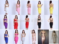 2014 New Black White Red Rose golden yellow purple pink two sets of sexy Bandage Dress Celebrity Dress High Quality Wholesale HL
