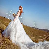 2014 vintage diamond paillette sexy tube top bandage flower big train wedding dress