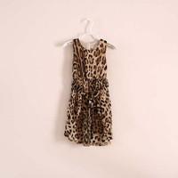 Baby girls dress kids children vest leopard 2014 summer girl dresses 0804 sylvia 39176446013