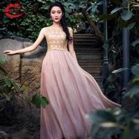 Summer Chiffon Lace Dress Fashion Long Pink Dress Women's Sleeveless A Line Dress To The Floor Maxi Dress Plus Size