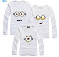 Retail family t shirt 2015 spring autumn dad/mum/kid minions parentage clothes cotton family shirts factory sale PANYA QJC05