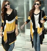New 2014 Stripe Rainbow Women casual Long Cardigans V-neck Button Irregular Knit Female Plus Size Sweater free shipping