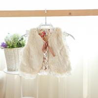 2014 New,baby girls faux fur vests,children autumn lace outerwear coats,beige,4 pcs / lot,wholesale,1679