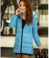 2014 Winter Women Long Down Coat With A Hood Fashion Slim Women's Wadded Parka Jacket Outerwear Plus Size Xl Xxl Free Shipping