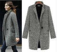 Size S-XL Briefs Style Women Long Gray Woolen Houndstooth Coat