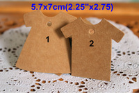 Free Shipping! 200pcs, 2 Different T-shirt  Kraft Blank Hang Craft Tags, Lovely Price Labels, Retro Gift tag, Table Number Cards