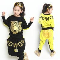 Girls Clothing Sets Tiger-Head Letter Print Children Sport Set Hoody Pants Conjunto De Roupa Kids Tracksuit Sportswear for Girls
