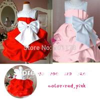 2014 New Arrival Dresses Kids dress Baby Girls Dress Wholesales 4pcs/lot 2 Color Girl Big Bow Princess Dress Free Shipping 230
