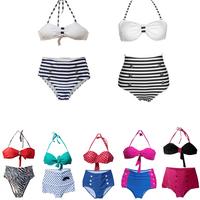 Hot Sale 2014 Fashion Brand for Woman Sexy Brazilian Retro Push Up Swimsuits High Waist Swimwear Beachwear Bikini Plus Size S-XL