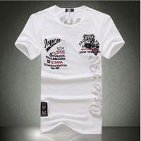 Hot European Mens Clothing Shark Tshirt with Short Sleeve Cotton Print O-neck Shirts 2014 Tops M,L,XL,XXL,XXXL,XXXXL Men Tee