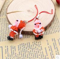 Fashion Cartoon Santa Claus Rabbit  Tortoise Handmade Toys Christmas Gifts Decorations Gifts Mobile Phone Bags Strap10 pcs/lot